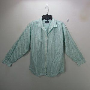 🌺Lands End long sleeve button up green S 16